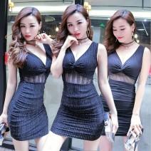 Dress Spring 2020 Silver, black L,M,XL,S Short skirt singleton  Sleeveless commute V-neck middle-waisted Socket A-line skirt other Others Type A Korean version