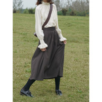 skirt Winter 2020 S,M,L Dark grey brown, dark grey brown (second batch) longuette commute High waist A-line skirt Solid color Type A 51% (inclusive) - 70% (inclusive) polyester fiber fold Britain