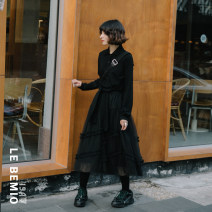 Dress Autumn of 2019 Black, green S, M Mid length dress singleton  Long sleeves commute High waist Solid color Socket routine Type H Retro YF1908010 More than 95% cotton