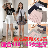 skirt Spring 2021 Short skirt commute High waist Pleated skirt Solid color Type A 18-24 years old More than 95% other Zhenyaluo other Korean version