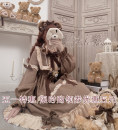 Dress Spring 2020 Caramel teddy bear plus shopping cart S,L Mid length dress singleton  Long sleeves Sweet stand collar High waist Solid color Socket Ruffle Skirt puff sleeve Others 18-24 years old Type A Bowknot, ruffle, stitching, three-dimensional decoration, lace 91% (inclusive) - 95% (inclusive)