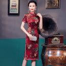 cheongsam Summer 2021 XXL, XXXL, XXL, m, l, XL claret Short sleeve Short cheongsam Retro Low slit wedding Oblique lapel Decor Over 35 years old Piping JY071-2 Other / other silk 91% (inclusive) - 95% (inclusive)