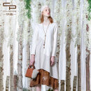 Dress Spring 2020 apricot flower S M L XL Mid length dress singleton  Long sleeves commute Crew neck Loose waist other Socket Irregular skirt routine 25-29 years old Type A literature More than 95% cotton Cotton 96.1% polyurethane elastic fiber (spandex) 3.9%