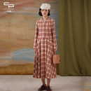 Dress Spring 2021 red-checkered pattern L XL S M longuette singleton  Long sleeves commute Crew neck Loose waist lattice Socket A-line skirt routine 25-29 years old Type A One city, one painting Button 81% (inclusive) - 90% (inclusive) polyester fiber