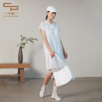 Dress Summer 2020 Black Beige S M L XL Mid length dress Two piece set Short sleeve commute V-neck middle-waisted Solid color Socket A-line skirt other Others 25-29 years old One city, one painting literature 0233F3206 More than 95% polyester fiber Polyester 100%