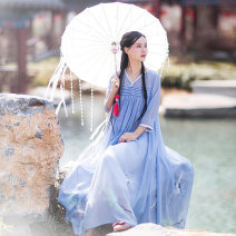 Dress Summer of 2019 Ice blue S,M,L longuette singleton  commute V-neck Loose waist Decor Socket Big swing routine Others 25-29 years old Type A Cotton and linen Retro Pleating, stitching, printing AQL1273 More than 95% Chiffon polyester fiber