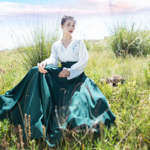 skirt Autumn of 2019 Average size Qijing forest longuette commute Natural waist A-line skirt Solid color Type A 25-29 years old AQB88 More than 95% Chiffon polyester fiber Tuck, lace up, zipper literature