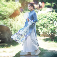 Dress Spring of 2018 Huaqing, Weixia No.1 (return to 100 after receiving goods), Weixia No.2 (return to 100 after receiving goods) M, L longuette Two piece set Long sleeves commute stand collar Loose waist Decor Socket A-line skirt pagoda sleeve Others 25-29 years old Type A Cotton and linen Retro