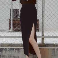 skirt Summer of 2019 S,M,L,XL,2XL Black spring and autumn, dark blue spring and autumn, black summer thin, dark blue summer thin Mid length dress sexy High waist High waist skirt Solid color Type H 25-29 years old 51% (inclusive) - 70% (inclusive) other Self made ancient rhyme cotton
