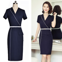 Dress Summer 2020 navy blue S,M,L,XL,2XL,3XL Middle-skirt singleton  Short sleeve commute V-neck middle-waisted Solid color Socket One pace skirt routine Others 25-29 years old Type X Ol style Pockets, stitching 30% and below nylon