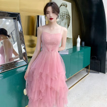 Dress / evening wear Weddings, adulthood parties, company annual meetings, daily appointments S M L XL XXL Pink fashion Short skirt middle-waisted Summer of 2019 Skirt hem Sling type zipper 18-25 years old TSLY-302 Sleeveless Diamond ornament Solid color Tslyzm other New polyester fiber 100% other