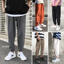 Casual pants Others Youth fashion Light gray, dark gray, black, orange, khaki M,L,XL,2XL thin Ninth pants Other leisure easy Micro bomb S10 summer teenagers Japanese Retro 2019 middle-waisted Little feet Haren pants Pocket decoration washing Solid color other polyester fiber cotton