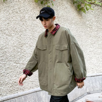 Jacket Other / other Youth fashion Black, army green M,L,XL routine easy go to work spring A71 Long sleeves Wear out Lapel tide teenagers routine Zipper placket 2019 Cloth hem washing lattice twill More than two bags) Hidden thread patch bag cotton More than 95%
