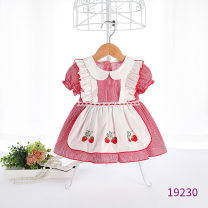 Dress red-checkered pattern female momoidea 73cm,80cm,90cm,100cm,110cm Cotton 99% other 1% summer Sweet Short sleeve other cotton Princess Dress Class A 3 years old Chinese Mainland