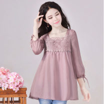 Lace / Chiffon Autumn of 2019 Pink Purple S,M,L,XL,2XL,3XL three quarter sleeve commute Socket singleton  easy Regular square neck Solid color bishop sleeve 25-29 years old lady 96% and above polyester fiber