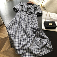 Dress Summer of 2018 Black, blue, coffee Average size Mid length dress singleton  Short sleeve Sweet Crew neck High waist lattice Socket other routine Others 18-24 years old D21.3.17-L 31% (inclusive) - 50% (inclusive) other other college
