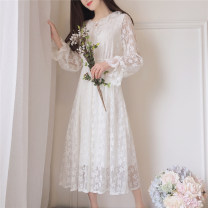 Dress Autumn 2020 White (long sleeve) Average size longuette singleton  Long sleeves Sweet Crew neck High waist Solid color Socket Big swing pagoda sleeve Others Type A Bowknot, Gouhua, hollow out, lace, lace 30% and below Lace Ruili