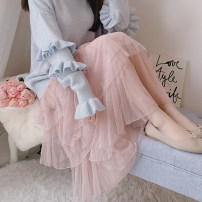 skirt Winter of 2018 Average size Pink (without velvet), white (without velvet), apricot (without velvet) longuette Sweet High waist Cake skirt Solid color Type A 30% and below other other fold Mori