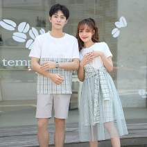 T-shirt Women's skirt (fake two pieces) men's T-shirt (single piece) grey shorts Female s female m female l male m male l male XL male XXL Summer of 2019 Short sleeve Crew neck Fake two pieces Medium length routine commute cotton 86% (inclusive) -95% (inclusive) 18-24 years old Korean version SP1059