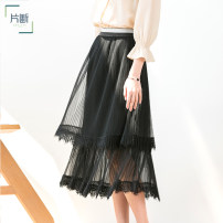 skirt Summer 2020 S M L XL Ivory white - skirt black - skirt grey - skirt Mid length dress dream Natural waist Splicing style Solid color Type A 30-34 years old M0B121022Q02 More than 95% Dribs & drabs / clip polyester fiber Gauze lace Polyester 100%