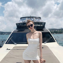 Dress Spring 2020 White, black, khaki, red S,M,L,XL Short skirt singleton  Sleeveless street High waist Solid color Socket routine camisole