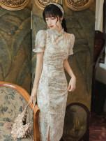 Dress Summer 2020 Decor S,M,L singleton  Short sleeve commute stand collar High waist Zipper, embroidery, hollow out
