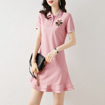 Dress Summer 2021 S,M,L,XL,2XL Short skirt singleton  Short sleeve commute Polo collar middle-waisted Solid color Socket A-line skirt routine Others 25-29 years old Type A 51% (inclusive) - 70% (inclusive) cotton