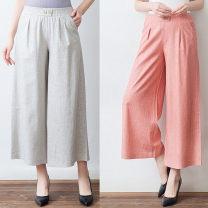 Casual pants Summer of 2019 Ninth pants Wide leg pants High waist Thin money 40-49 years old hemp hemp