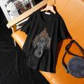 T-shirt S [70 ~ 80 Jin], m [80 ~ 90 Jin], l [90 ~ 100 Jin], XL [110 ~ 130 Jin], 2XL [140 ~ 160 Jin], 3XL [170 ~ 190 Jin], 4XL [200 ~ 220 Jin], 5XL [220 ~ 250 Jin] Summer 2020 Short sleeve Crew neck easy Regular routine commute cotton 96% and above Korean version originality Cai Xiana Diamond inlay