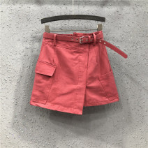 skirt Summer 2021 S,M,L,XL,2XL Watermelon red, white Short skirt street High waist A-line skirt Solid color Type A 25-29 years old Y1H1999 More than 95% Denim Ocnltiy cotton Chain, pocket, asymmetry Europe and America