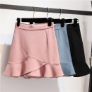 skirt Summer 2021 S,M,L,XL Black, blue, apricot, red bean paste Short skirt commute A-line skirt Solid color Type A 25-29 years old More than 95% Ocnltiy Korean version