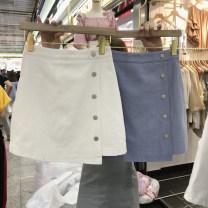 skirt Spring 2021 S,M,L,XL White, blue, pink Short skirt commute High waist Irregular Solid color Type A 18-24 years old More than 95% Denim Ocnltiy other Korean version