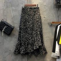 skirt Spring 2021 S,M,L,XL black longuette commute High waist Irregular Decor Type A 25-29 years old More than 95% Chiffon Ocnltiy Korean version