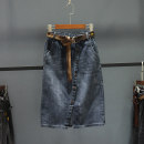 skirt Spring 2021 S,M,L,XL,2XL,3XL grey Mid length dress Versatile High waist A-line skirt Solid color Type H 25-29 years old More than 95% Denim Ocnltiy cotton