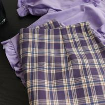 skirt Summer 2021 XS,S,M,L Purple sweet potato Short skirt commute High waist A-line skirt lattice Type A 18-24 years old More than 95% other Ocnltiy polyester fiber Korean version