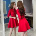 Dress Autumn 2020 S,M,L,XL,2XL,3XL Middle-skirt singleton  three quarter sleeve commute Crew neck High waist Solid color zipper A-line skirt routine Others Type A Korean version brocade cotton