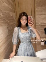 Dress Summer 2021 Lavender 6 working days, lavender 8 working days, lavender 12 working days, light blue 6 working days, light blue 8 working days, light blue 12 working days XS,S,M,L Short sleeve commute square neck High waist Solid color zipper puff sleeve 25-29 years old pocket