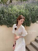 Dress Summer 2021 White 8 working days , White 10 working days , White 12 working days , 8 working days , 10 working days , 12 working days XS,S,M,L Long sleeves commute square neck High waist Solid color zipper puff sleeve 25-29 years old pocket