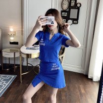 Casual suit Summer 2020 Blue, black S,M,L,XL 18-25 years old 91% (inclusive) - 95% (inclusive) cotton