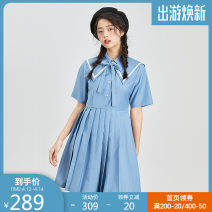 Dress Summer 2021 blue S,M,L,XL Short skirt singleton  Short sleeve commute Admiral Solid color Socket Pleated skirt routine 25-29 years old Type A Westlink / Xiyu lady Pleating 71% (inclusive) - 80% (inclusive) polyester fiber