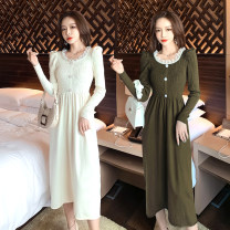 Dress Winter 2016 White, green, black, light blue gray Average size longuette singleton  Long sleeves commute V-neck High waist Solid color A-line skirt 25-29 years old Korean version other