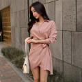Dress Winter 2017 Pink S,M,L Short skirt singleton  Long sleeves commute V-neck High waist Solid color Irregular skirt routine Others Other / other Korean version Frenulum