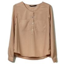 T-shirt Light coffee, bean green, pure white L,M,S Long sleeves Crew neck silk 30% and below Solid color