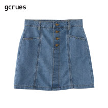 skirt Autumn 2020 S,M,L,XL Denim blue Short skirt Sweet Natural waist A-line skirt Solid color 18-24 years old G2C07A1901-1 81% (inclusive) - 90% (inclusive) gcrues cotton solar system
