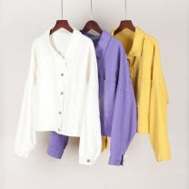 short coat Autumn 2020 M, L Yellow, purple, pure white Long sleeves have cash less than that is registered in the accounts routine singleton  High waist type Versatile Bat sleeve Polo collar Single breasted Solid color 25-29 years old 96% and above cotton cotton