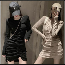 Dress Spring 2020 Black, apricot Average size longuette singleton  Long sleeves commute Crew neck High waist Solid color Socket One pace skirt routine Breast wrapping 18-24 years old Type A Korean version Q414 71% (inclusive) - 80% (inclusive) cotton