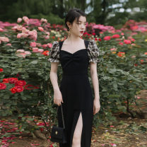 Dress Spring 2021 black L (recommended 90-115 kg), XL (recommended 116-135 kg), 2XL (recommended 136-155 kg), 3XL (recommended 155-175 kg), 4XL (recommended 176-200 kg), m (recommended 80-95 kg) Mid length dress singleton  Short sleeve commute square neck High waist lattice other puff sleeve Type A