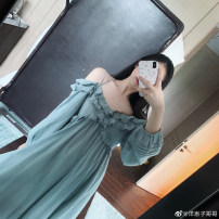 Dress Summer 2020 Black, grey green blue, apricot, grey green blue pre-sale about 10-15 working days, apricot pre-sale about 10-15 working days, black pre-sale about 10-15 working days S, M Mid length dress singleton  Nine point sleeve commute Others Type A Other / other More than 95% cotton