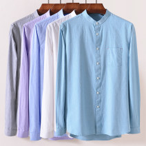shirt Youth fashion Baim / Baimu 165,170,175,180,185,190 Pocket long sleeve purple , Pocket long sleeve green , Pocket Long Sleeve White , Pocket long sleeve grey , Pocket long sleeve orchid routine stand collar Long sleeves standard Other leisure spring Cotton 100% 2020 Solid color oxford cotton