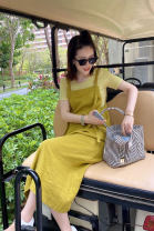 Dress Summer 2021 Mid length dress singleton  Sleeveless commute other middle-waisted Solid color other A-line skirt other straps 25-29 years old Type H Korean version other cotton